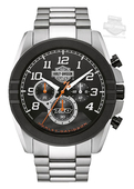 Harley-Davidson® Mens B&S Jet Black Dial Chronograph Stainless Steel Watch 76B175 By Bulova
