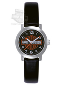 Harley-Davidson® B&S Black Leather Strap Womens Watch By Bulova®