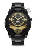 Harley-Davidson® Mens 115th Anniversary Black Sunray Dial with Gold Tone Accents Watch 78A119 By Bulova