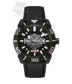 Harley-Davidson® Mens B&S Logo with Vertical Embossed Pattern Black Ion Plating Watch 78B136 By Bulova