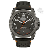 Harley-Davidson® Mens B&S Jet Black Dial with Perforated Leather Strap Watch 78B143 By Bulova