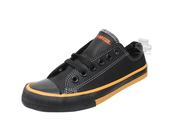 Harley-Davidson® Womens Zia Orange Trim Black Leather Casual Shoe