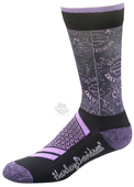 Harley-Davidson® Womens Cushion Vented Performance Swirl Riding Purple Poly Blend Socks