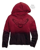 Harley-Davidson® Womens Dip-Dye Eagle Graphic Mineral Wash Pullover Red Long Sleeve Hoodie