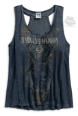 Harley-Davidson® Womens French Terry Mineral Wash Racerback Grey Sleeveless Tank