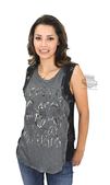 ** SMALL SIZES ONLY ** Harley-Davidson® Womens Eagle Shield Lace Inset with Studs Grey Sleeveless Tank