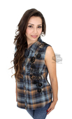 ** SMALL SIZES ONLY ** Harley-Davidson® Womens Embroidered Skull with Roses Graphic Plaid Sleeveless Woven Shirt