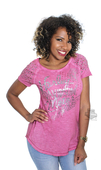 ** SMALL SIZES ONLY ** Harley-Davidson® Womens Stud & Rhinestone Accent Dirty Wash Pink Short Sleeve T-Shirt