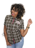 ** SMALL SIZES ONLY ** Harley-Davidson® Womens Multi-Patch Rolled Cuffs Plaid Short Sleeve Woven Shirt