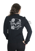 ** SMALL SIZES ONLY ** Harley-Davidson® Womens Slim Fit Skull & Roses Knit Fleece Bomber Black Casual Jacket