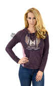 ** SMALL SIZES ONLY ** Harley-Davidson® Womens Winged B&S Lacing V-Neck Pullover Purple Long Sleeve Hoodie *3D2*