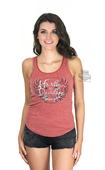 Harley-Davidson® Womens Flecked Wing with Crochet Lace Trim Red Sleeveless Tank