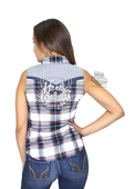 Harley-Davidson® Womens H-D Wings Enzyme Wash Plaid Sleeveless Woven Shirt