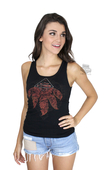 Harley-Davidson® Womens Laced Back Feather Graphic Black Sleeveless Tank
