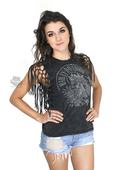 Harley-Davidson® Womens Fringe Detail Skull with Feathers Black Sleeveless Muscle T-Shirt
