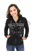 ** SMALL SIZES ONLY ** Harley-Davidson® Womens Trademark B&S Embellished Mineral Wash Full Zip Black Long Sleeve Hoodie