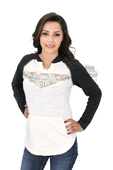 ** SMALL SIZES ONLY ** Harley-Davidson® Womens Chain Accent Winged B&S Raglan Pullover Off White Long Sleeve Hoodie *3D2*
