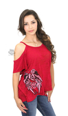 ** SMALL SIZES ONLY ** Harley-Davidson® Womens Cold Shoulder Winged Rose Burnout Pink Short Sleeve T-Shirt *CYB*