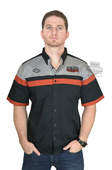 Harley-Davidson® Mens Colorblocked with Contrasting Stripes Black Short Sleeve Woven Shirt