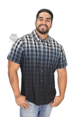 Harley-Davidson® Mens Dip Dye Finish Slim Fit Plaid Short Sleeve Woven Shirt *CYB*
