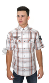 Harley-Davidson® Mens Embroidered Graphics White Plaid Short Sleeve Woven Shirt