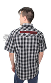 Harley-Davidson® Mens Chain Stitch Tinted Wash Plaid Short Sleeve Woven Shirt