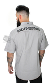 Harley-Davidson® Mens Contrast Stitch with Embroidered Graphics Grey Short Sleeve Woven Shirt