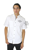 Harley-Davidson® Mens Contrast Shoulder Stripe White Short Sleeve Woven Shirt