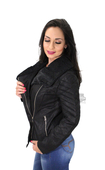 Harley-Davidson® Slim Fit Womens Sherpa Fleece Accented Spray Washed Black Leather Jacket
