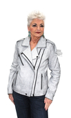 Harley-Davidson® Womens Crackle Fashion Lambskin with Asymmetric Zipper White Leather Jacket