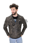 ** MEDIUM & 3X ONLY ** Harley-Davidson® Slim Fit Mens Distressed #1 Skull Logo Biker Style Black Leather Jacket