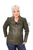 ** SMALL SIZES ONLY ** Harley-Davidson® Slim Fit Womens Washed Quilted Detail Perforated Goatskin Green Leather Jacket