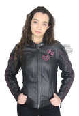 Harley-Davidson® Womens Pink Label Limited Edition Reflective Black Leather Jacket