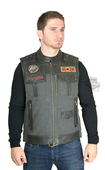 Harley-Davidson® Mens Victor Textile & Leather Enzyme Wash Charcoal Vest