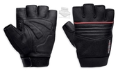 Harley-Davidson® Mens Splice Mesh with Contrast Piping Black Leather Fingerless