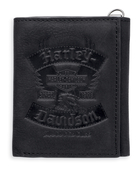 Harley-Davidson® Mens Distressed Eagle Black Leather Trifold Wallet
