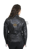Harley-Davidson® Womens 115th Anniversary Reflective with Contrast Stitching Black Leather Jacket