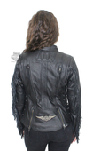 Harley-Davidson® Womens Boone Fringed Winged B&S Patch Black Leather Jacket