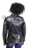 Harley-Davidson® Womens Hairpin B&S Reflective Perforated Black Leather Jacket