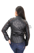 Harley-Davidson® Womens Eclipse Waterproof & Reflective with Triple Vent System Black Leather Jacket *48HR*