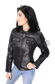 Harley-Davidson® Slim Fit Womens Quilted Coated Water Resistant with Reflective Piping Black Functional Jacket