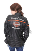 Harley-Davidson® Womens Miss Enthusiast B&S Quilted Triple Vent System™ Black Leather Jacket