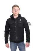 Harley-Davidson® Mens Slim Fit #1 Skull 3-In-1 Windproof Denim Riding Black Casual Jacket