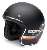 Harley-Davidson® Mens Retro Tank Stripe B01 Black Label Black 3/4 Face Helmet