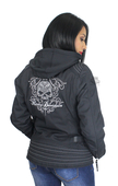 Harley-Davidson® Womens Scroll Willie G Skull 3-In-1 Riding Black Functional Jacket