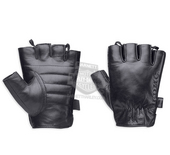 ** SIZE SMALL ONLY ** Harley-Davidson® Mens Hanger Vintage with Quick Release Pull Tabs Black Leather Fingerless Glove *1DY*