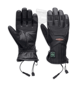 ** BIG SIZES ONLY ** Harley-Davidson® Mens Heated Plug In 12V Black Leather Full Finger *CIJ*