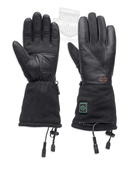 Harley-Davidson® Womens Heated Dual Source B&S 12V Textile Black Leather Full Finger *CIJ*