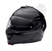 Harley-Davidson® Mens Capstone B&S Retractable Sun Shield Gloss Black Full Face Modular Helmet