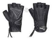 Harley-Davidson® Womens Distressed Perforated with Lacing Black Leather Fingerless